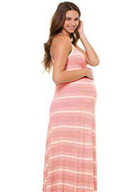 Queen Bee Red Striped Maternity Maxi Dress by LA Made