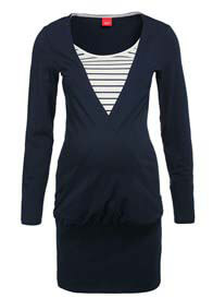 Queen Bee Navy Blue Maternity Tunic w Striped Inset by Esprit