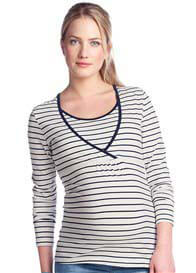 Queen Bee Long Sleeve Maternity Nursing Top in Navy Stripes by Esprit