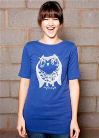 MamaFeelsGood - Blue Funky Owl Nursing Tee - ON SALE