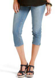 Queen Bee Light Wash Full Panel Maternity Denim Capri Jeans by Esprit