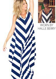 Queen Bee Story Of Maxi Maternity Dress in Blue Stripes by Fillyboo