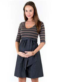 Queen Bee Striped Scoop Front Tie Maternity Dress by Maternal America