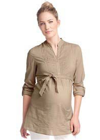 Queen Bee Sand Tab Sleeve Maternity Tunic w Sash by Esprit