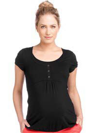 Esprit - Short Sleeve Nursing Henley in Black