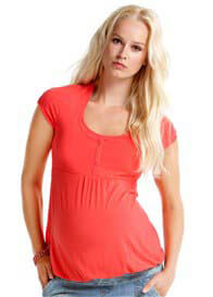 Esprit - Short Sleeve Nursing Henley in Azalea