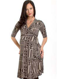 Queen Bee Kaitlyn Maternity Wrap Dress in Geo Print by Everly Grey