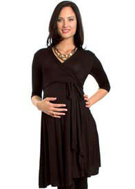 Queen Bee Kaitlyn Maternity Wrap Dress in Black by Everly Grey