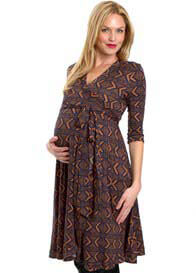 Queen Bee Kaitlyn Maternity Wrap Dress in Tribal Print by Everly Grey