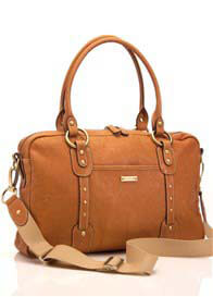 Storksak - Elizabeth Nappy Bag in Tan Leather