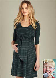 Maternal America - Green Scoop Front Tie Dress - ON SALE