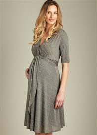 Queen Bee Charcoal Front Tie Maternity Dress by Maternal America