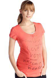 Queen Bee Wellness Maternity Harmony Tee in Peach by Esprit