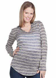 Queen Bee Aria Maternity Knit Hoodie in Grey Stripes by NOM Maternity