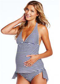 Queen Bee Josie Navy Stripe Maternity Tankini Swimsuit by Maternal America