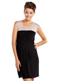 Maternal America - Babydoll Nursing Dress in Black/Mocha - ON SALE