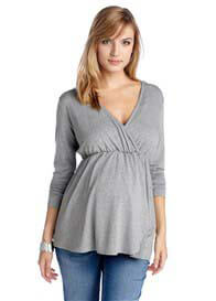 Esprit - Long Sleeve Jersey Nursing Top in Grey - ON SALE