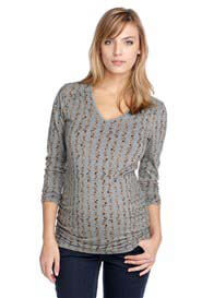 Queen Bee Grey Stripe Print Maternity Top by Esprit