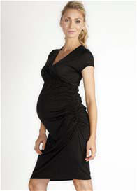 Queen Bee Cheri Black Maternity Wrap Dress by LA Made