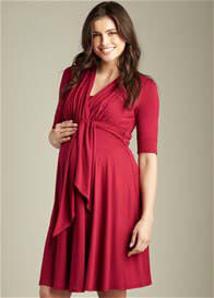 Maternal America - Burgundy Front Tie Nursing Dress