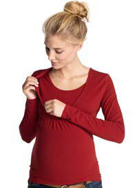 Queen Bee Long Sleeve Maternity/Nursing Top in Red by Esprit