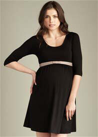 Maternal America - Black Scoop Neck Dress w Belt - ON SALE