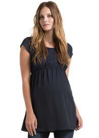 Queen Bee Pintuck Maternity Tunic in Black Ink by Esprit