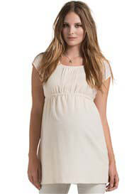 Queen Bee Pintuck Detail Maternity Tunic in Off-White by Esprit