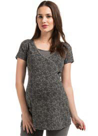 Queen Bee Dolores Maternity/Nursing Top in Grey Floral by Noppies