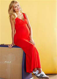 Queen Bee Marshall Red Maternity Maxi Dress by Queen mum
