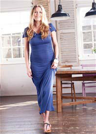Queen Bee Kai Blue Maxi Maternity/Nursing Dress by Quack Nursingwear