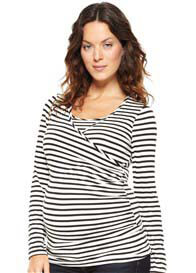 NOM - Surplice Nursing Tee in Black Stripes
