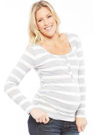 NOM - Ruched L/S Snap Nursing Tee in Grey Stripes