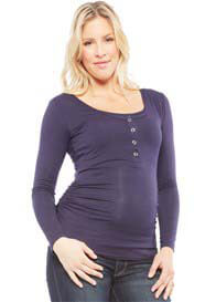 NOM - Ruched L/S Snap Nursing Tee in Navy