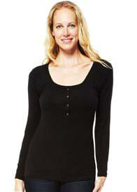 NOM - Straight L/S Nursing Henley in Black
