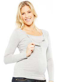 NOM - Straight L/S Nursing Henley in Grey