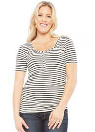 NOM - Short Sleeve Nursing Tee in Black Stripes - ON SALE