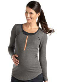 Queen Bee Charcoal Zippered Maternity/Nursing Top by Molly Ades