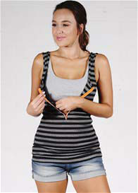 Queen Bee Zip Maternity/Nursing Tank in Black/Grey Stripes by Molly Ades