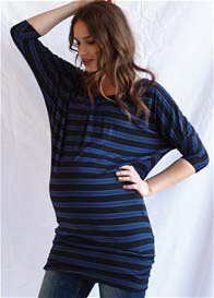 Queen Bee Blue Stripe Maternity Mini Dress by Queen mum