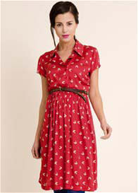 Queen Bee Red Origami Bird Print Maternity Shirt Dress  by Fragile Maternity