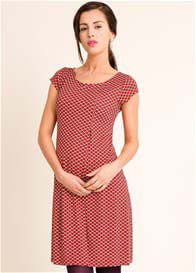 Fragile - Inverted Pleat Dress in Red Print