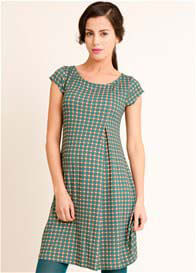 Fragile - Inverted Pleat Dress in Green Print