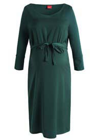 Queen Bee Satin Front Maternity Dress in Peacock Green by Esprit