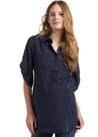 Esprit - Tab Sleeve Shirt in Dark Navy - ON SALE