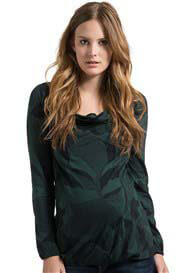 Queen Bee Peacock Green Print Maternity Blouse by Esprit