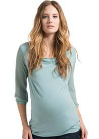 Queen Bee Sheer Sleeves Maternity Blouse in Azul Blue by Esprit
