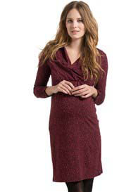 Queen Bee Vineyard Red Print Maternity/Nursing Dress by Esprit