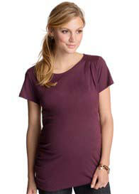 Queen Bee Inlaid Pleat Maternity Tee in Vineyard by Esprit