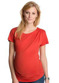 Queen Bee Inlaid Pleat Maternity Tee in Pumpkin Orange by Esprit